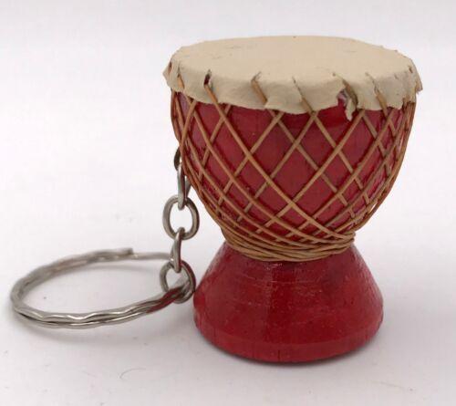 Schlüsselanhänger Djembé Trommel Rot Schlüsselring Holz Ziegenleder Afrika