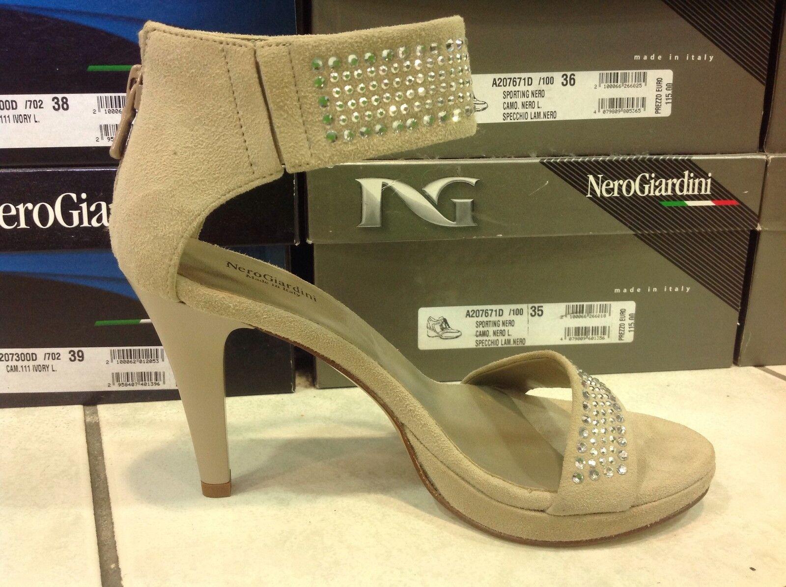 Nero camoscio Giardini p207571de sandali da donna in camoscio Nero con strass linea elegante 870df3