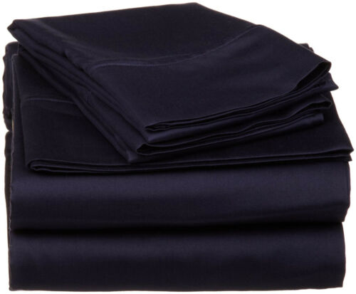 Complete Bedding Set Navy Blue Solid Choose Sizes 1000 TC Egyptian Cotton