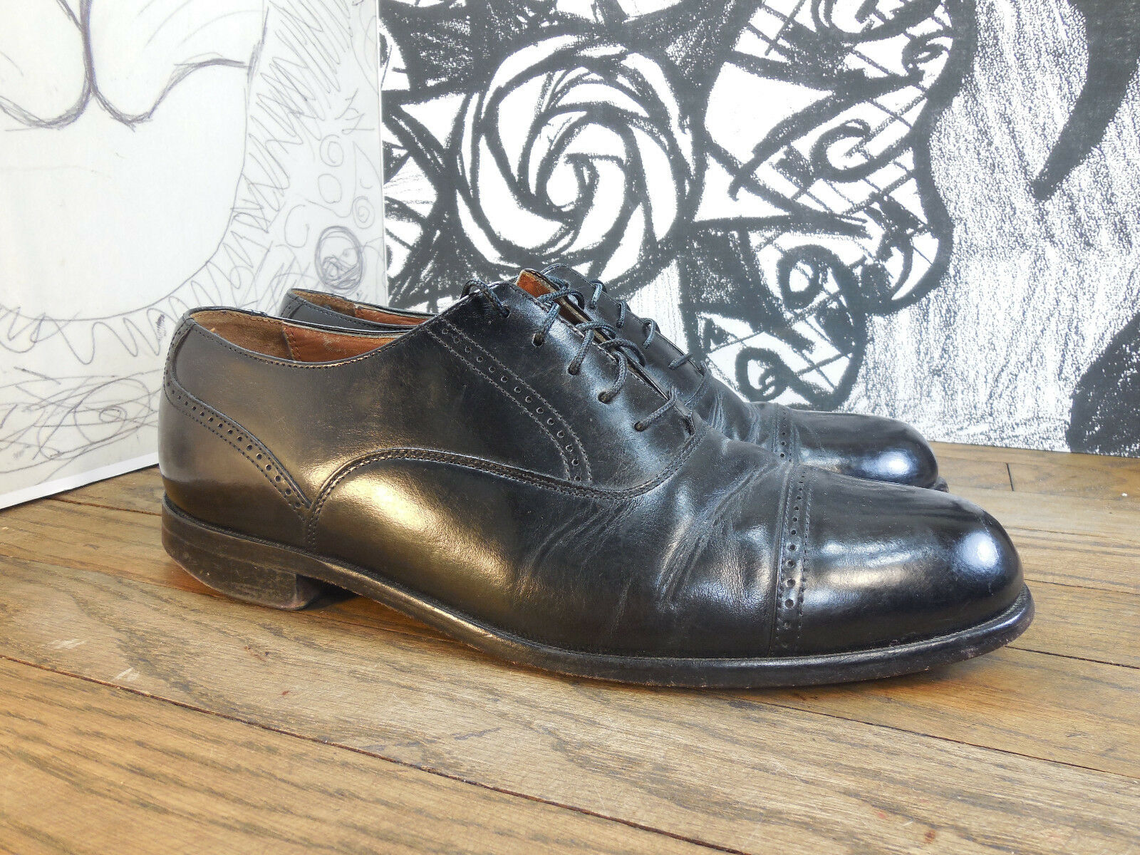 Bostonian Black Men's Leather Cap Toe Oxfords Men's Black 9M 43f82a