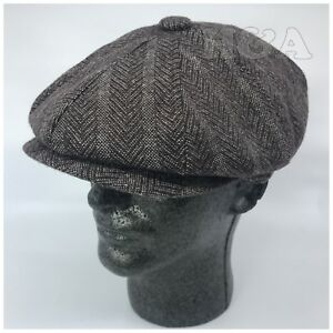 Men s 8 Panel Premium Wool Cabbie Newsboy Applejack Paperboy Tweed ... 8f93d9fa6afe