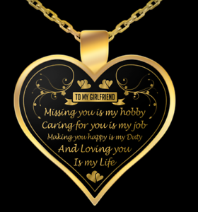 LDR Gold Plated Heart Shaped Necklace Gift for Girlfriend Valentines Day