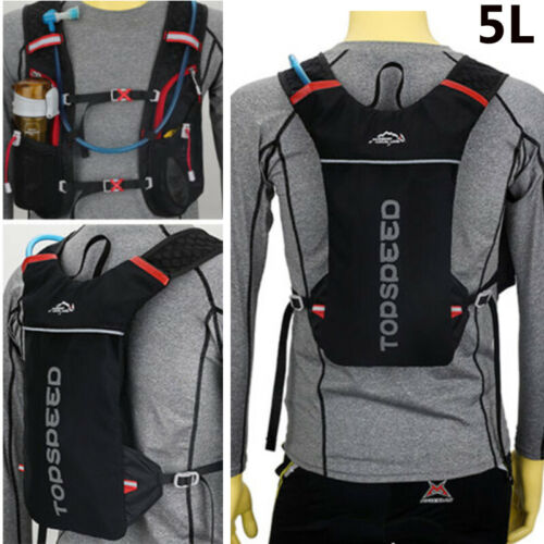 5L Backpack Sport Vest Breath Hydration 2L Water Bladder Bag Marathon Running