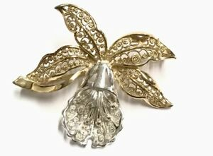 Vintage-Silver-Gilded-Gold-Filigree-Orchid-Brooch-Gift-Boxed