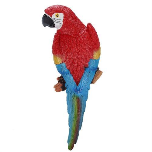 Resin Lifelike Bird Ornament Figurine Parrot Model Garden Sculpture Wall Decor