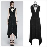 Punk-Rave Q-252 Black Gothic Rock Casual Sexy Low V-cut sleeveless Dress