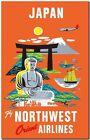 "Vintage travel Poster *FRAMED* CANVAS PRINT ~ Japan Orient Airlines 18x12"""