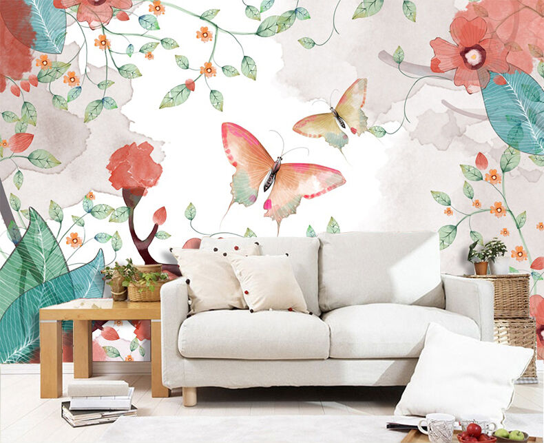 3D butterfly painting Wall Paper wall Print Decal Wall Deco Indoor wall Mural