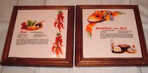 2 Vtg Southwest Wood Framed Mulia Ceramic Tile Pictures Trivet tacos ...
