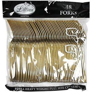 Image is loading Lillian-Tablesettings-48-Count-Premium-Plastic-Fork-Gold-  sc 1 st  eBay & Lillian Tablesettings 48 Count Premium Plastic Fork Gold Forks ...