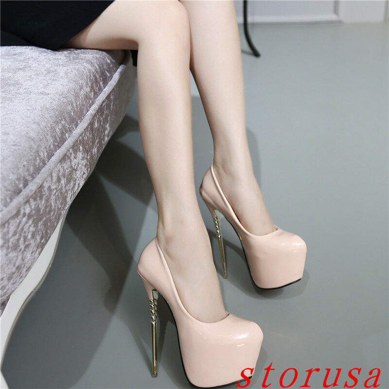 Women Stiletto Metal Heel  Clubwear Super High Heels 17cm shoes Platform Sandals