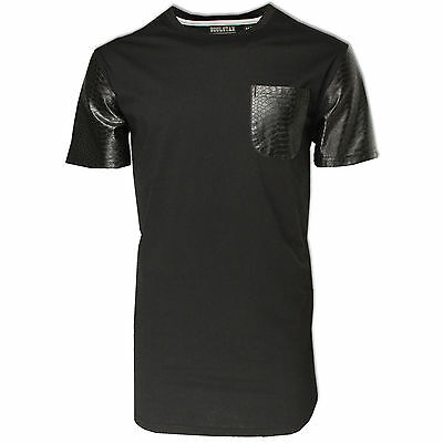 Mens Longline T-Shirt Soulstar Black PU Snake Leather Sleeves Street Top Jersey