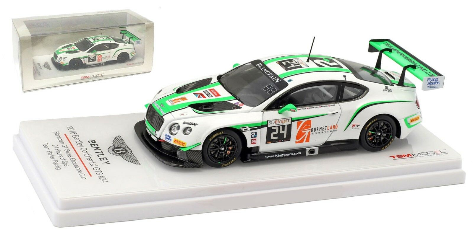 Truescale Bentley Continental GT3 'Parker Racing' 24H Spa 2016  - 1 43 Scale