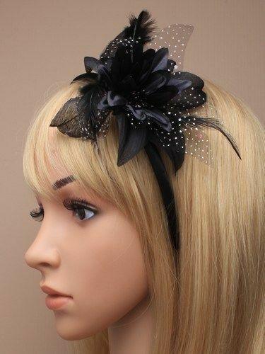 Ascot//Races//Funeral//Prom Black Hair Flower//Hat Fascinator Clip//Comb//Headband