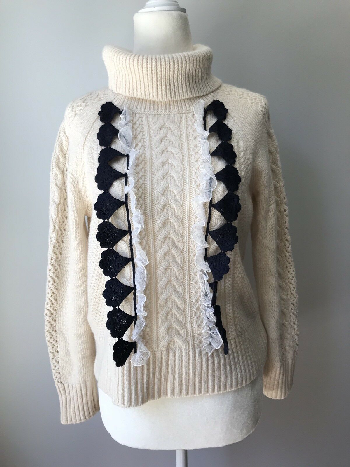 NEW J. CREW EMBELLISHED CABLE SWEATER SZ XS H2555
