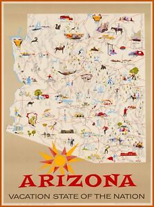 Travel Map Of Arizona.Arizona Vacation State Map Vintage United States Travel