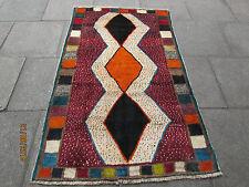 VECCHIO Fatto a Mano Tradizionale Persiano Orientale Gabbeh Tappeto Lana Rosso Arancione 195x120cm