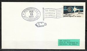 United-States-1973-Feb-15-space-cover-100-years-Haenlein-to-Apollo-NASA-history