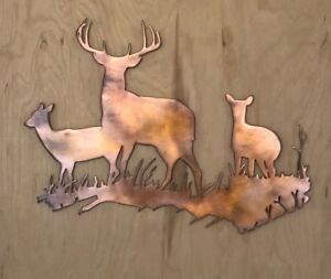 Deer Family Scene Wall Metal Art Rustic Copper Hanging Ebay