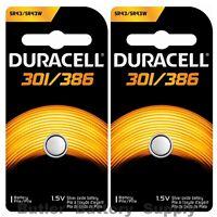 2 X 301/386 Duracell Button Cell Batteries (sr43w, Sr43sw, Sp301, Sp386, Ws10)