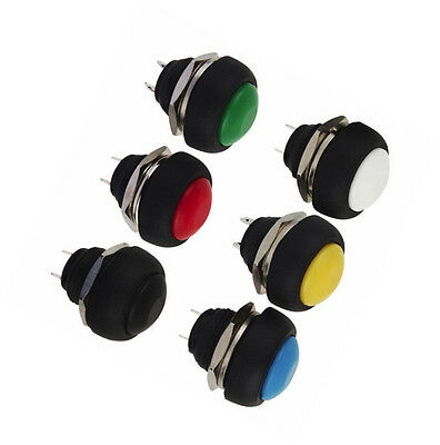 6Pcs NEW Mini 12mm Waterproof Momentary ON/OFF Push Button Round Switch
