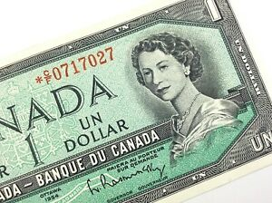 1954-Canada-1-Dollar-Replacement-Uncirculated-CF-Bouey-Rasminsky-Banknote-R240