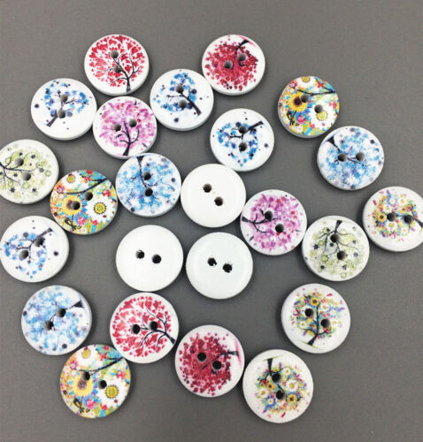 50-100pc 15mm Mixed Tree Pattern 2 Holes Wood Buttons Sewing Scrapbooking Crafts