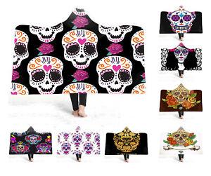 Gift-Gothic-Cool-Sugar-Skull-Ghost-Girl-Peony-Flower-Fleece-Hooded-Blanket-Throw
