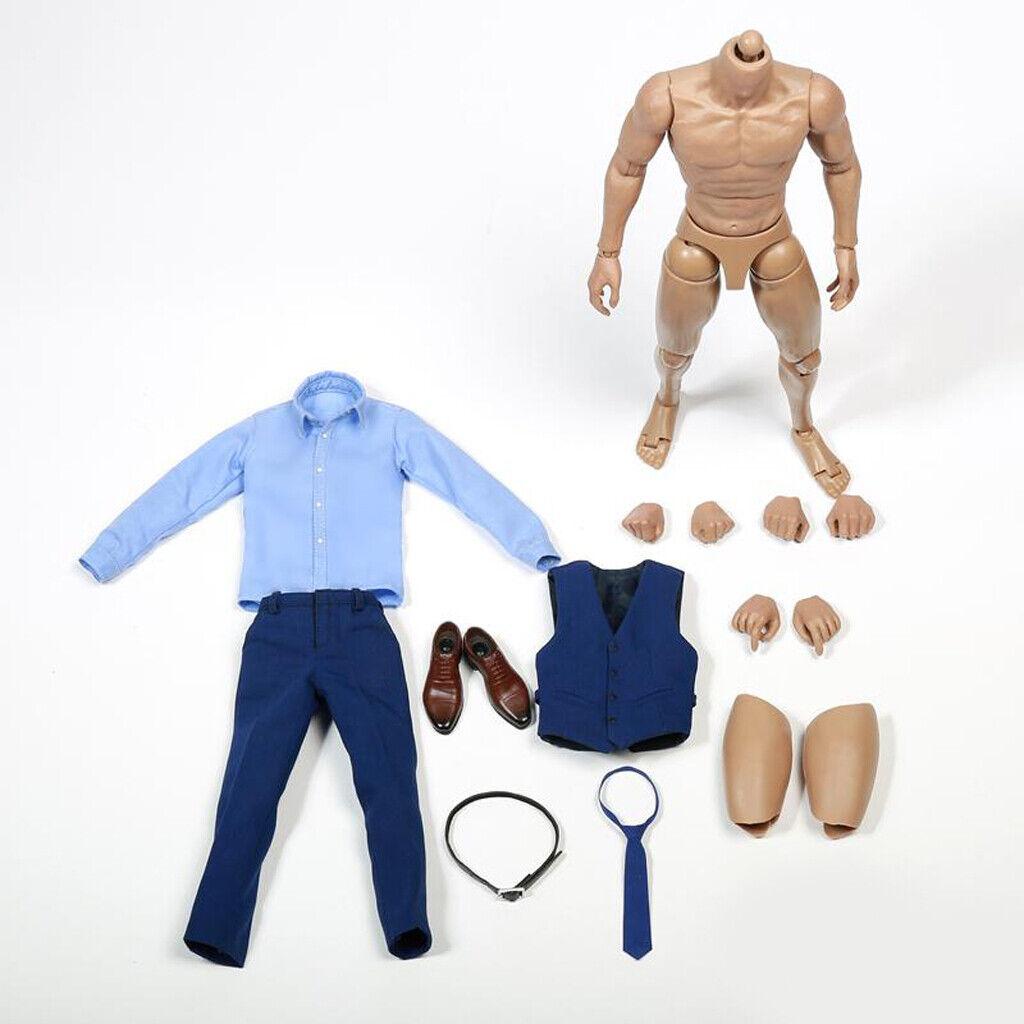 1 6 Shapely costume bleu avec Mâle Muscle Figure pour Hot 12  Toys Action Figures