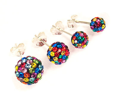 Genuine Sterling Silver 8mm Multi-Colour Shamballa Style Ball Stud Earrings
