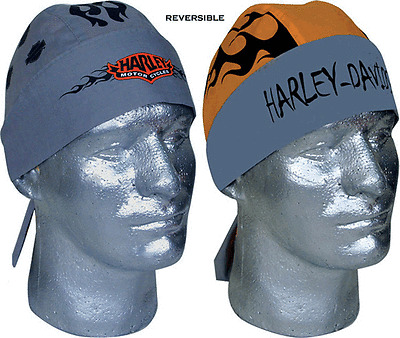 HARLEY DAVIDSON REVERSIBLE GRAY ORANGE HAT  HEADWRAP
