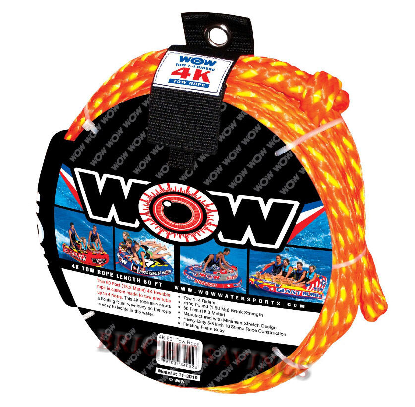 New WOW 4K Tow Rope Towable Tube 60' Long Floating 5 8  Heavy Duty Water Ski