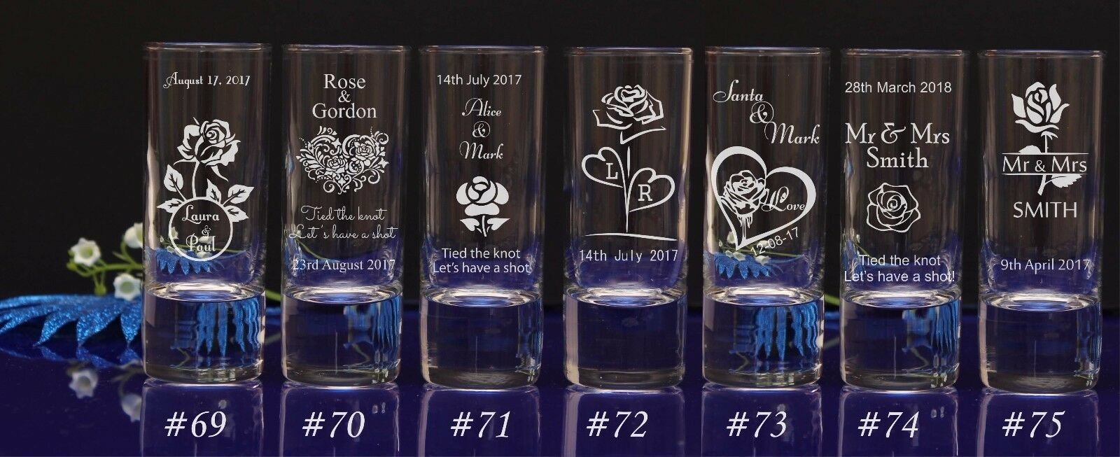 Personalised rosa theme Engraved Shot Shot Shot Glass Wedding favors for guests gift 80e9bf