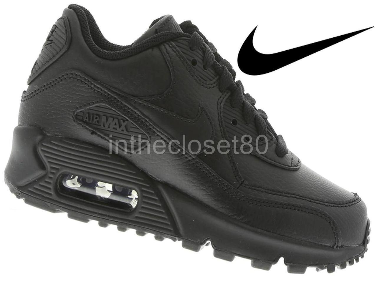 Nike Air Max 90 GS Triple Black Leather Juniors Boys Girls Womens Trainers