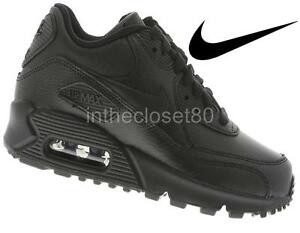 2ee5f20c1 Nike Air Max 90 GS Triple Black Leather Juniors Boys Girls Womens ...