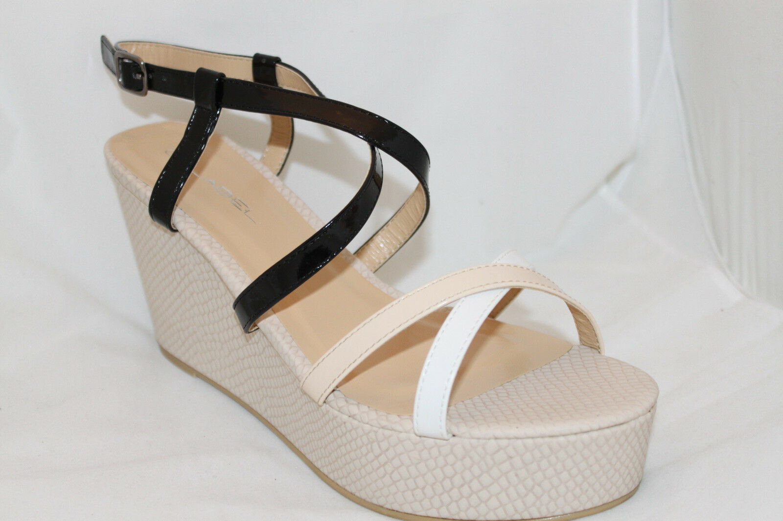 Platform Wedge Sandals Style Strappy Color Block Black and White Style Sandals Women's Shoes 74e1bc