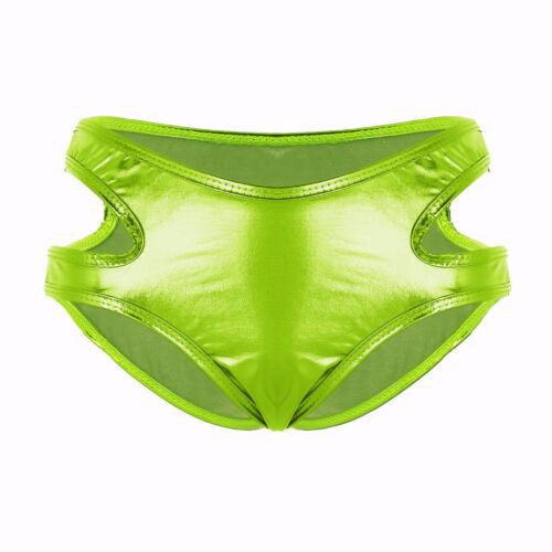 Women PVC High Cut Briefs Strappy Bikini Booty Shorts Low Rise Mini Underwear