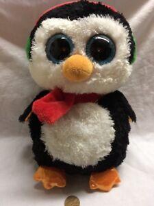 "13b5d91436c Ty Beanie Boo 9 - 10"" Lot Black Penguin North Christmas Santa Hat"