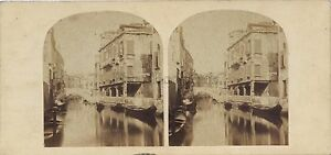 Venezia Piccolo Canal Italia Stereo Vintage Albumina Ca 1860