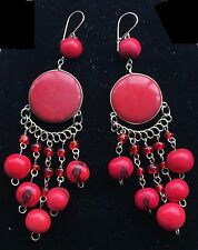 BohoCoho Quirky Lagenlook Boho Gypsy Red & Silver Palm Ivory Dangle Earrings