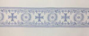 Orphrey-Vintage-Celeste-Encendido-Blanco-Vestment-Banda-11-4cm-Ancho-Vendido-Por