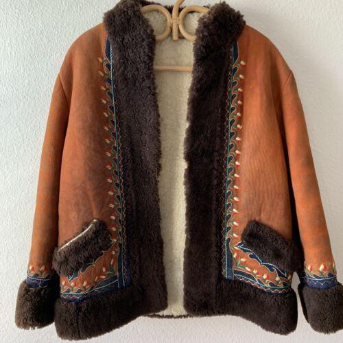 Vtg 60s 70s Afghan Coat Penny Lane Boho Hippie Emb