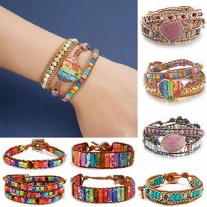 Natural Stone Healing Chakra Multi-layer Bracelet Leather Bangle Women Jewellery
