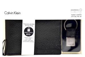 Calvin-Klein-Mens-Bifold-RFID-Leather-Card-Wallet-and-Key-Ring-Set-Black
