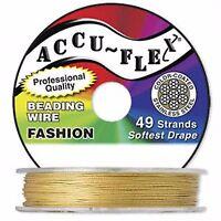 100' .024 Gold Color Accuflex 49 Str Beading Wire