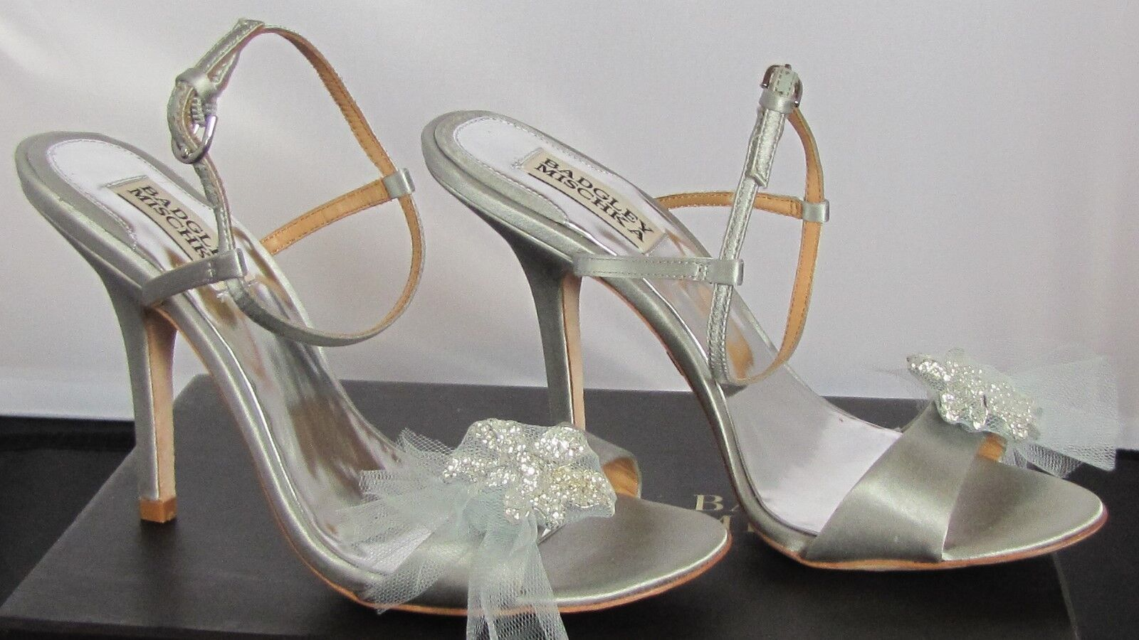 BADGLEY MISCHKA MISCHKA MISCHKA  205.00 WEDDING COCKTAIL argent BROOCH HEELS chaussures NIB 7.5 30c114