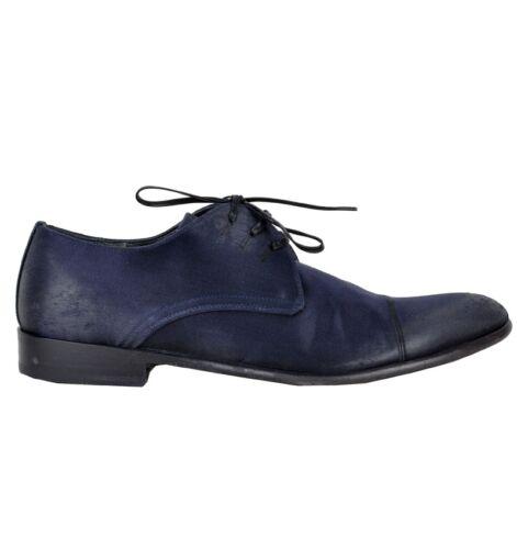 DOLCE /& GABBANA RUNWAY Silk Shoes Purple Blue Chaussures Bleu 02294
