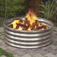 "36"" Portable Galvanized Steel Round Fire Pit Ring Metal Can Backyard Camping"