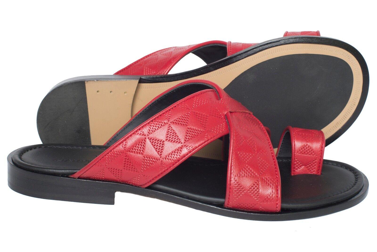 Giampieronicola 5027 Italian mens rot leather print sandals