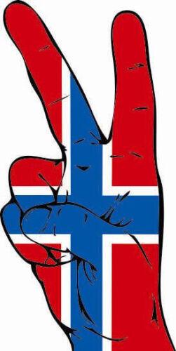 Aufkleber Peace-Finger Norwegen Flagge Fahne  Autoaufkleber 26 x 12 cm